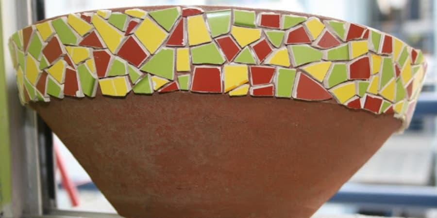 mosaico sin herramientas, técnica del martillo